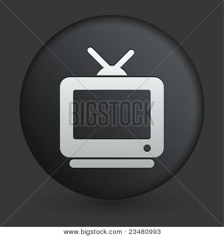 Television Icon on Round Black Button Collection Original Illustration