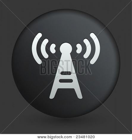 Radio Tower Icon on Round Black Button Collection Original Illustration