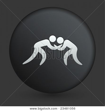 Wrestling Icon on Round Black Button Collection Original Illustration