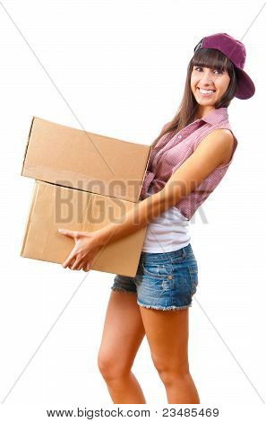 Young Girl With Cardboard Boxes