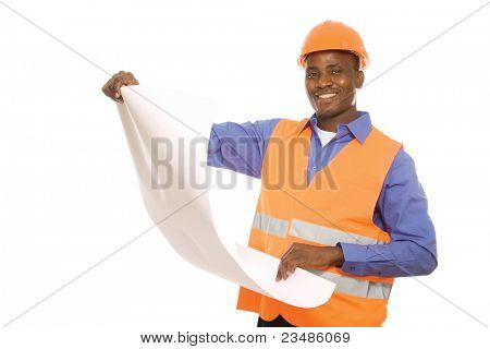 Young Afro-American engineer  with blueprints isolated on white