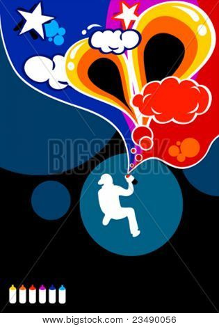 A boy silhouette spraying abstract graffiti in six colors