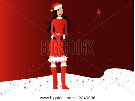 Woman In Christmas Outfit Holding A Wrapped Gift