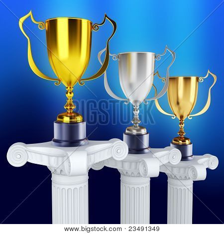 Gold silver and bronze trophy's on a pedestal (3d render)