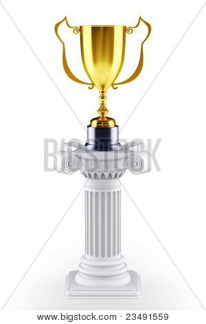Golden trophy cup on a pedestal