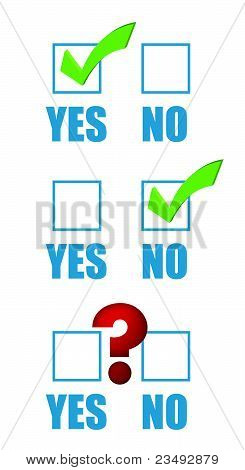 Yes no checklist and question mark
