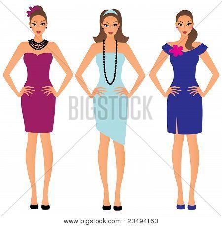 Set of beautiful girls