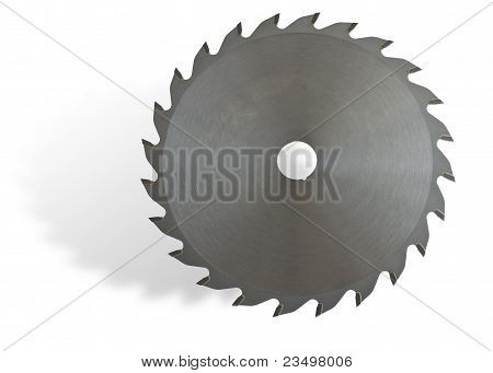 Circular Saw On White Background With Drop Shadow