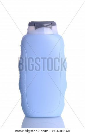 Plastic bottle with  shampoo without label