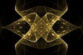 Bright Abstract Fractal Gold Veil Of Fantasy, Fractal Yellow Waves Fantasy poster