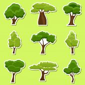 Set Of Flat Stylized Tree Stickers. Cartoon Garden Green Tree Icons. Nature Environment Organic Fore poster