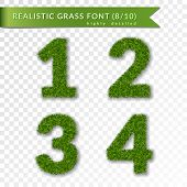 Grass Numbers 1 2 3 4. Green Numbers One, Two, Three, Four Isolated On White Transparent Background. poster