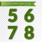 Grass Numbers 5 6 7 8. Green Numbers Five, Six, Seven, Eight Isolated On White Transparent Backgroun poster