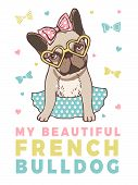 Retro Poster With Illustrations Of Funny French Bulldog. Banner With Bulldog French Dog, Puppy Or Pe poster