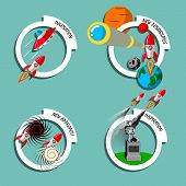 Rocket Business Flat Art Style Vector Set. Stock Illustration Of Innovation, New Approach, Inspirati poster