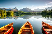 Wonderful mountain lake in National Park High Tatra. Location place Strbske pleso, Slovakia, Europe. poster