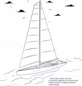 Yacht Race Poster Design With Sail Boat Sketch. Luxury Yacht Vessel Hand Drawn Vector Illustration.  poster