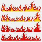 Fire Flame Set, Flame Elements, Burning Infern, Flat Style, Vector Image poster