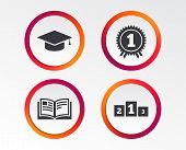 Graduation Icons. Graduation Student Cap Sign. Education Book Symbol. First Place Award. Winners Pod poster