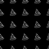 Cute Cartoon Fast Food Background With Hand Drawn Pizza Slices. Sweet Vector Black And White Fast Fo poster