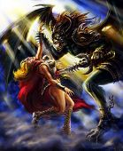 Winged Demon Pierces A Warrior Girl With A Sword. Colorful Picture In The Genre Of Fantasy. poster
