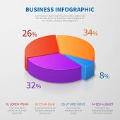 Pie Chart 3d Graph Vector Design With Percentages And Options For Business Presentation. Illustratio poster