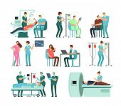 Medical Doctors And Patients In Clinic. Vector People And Medicine Isolated. Medical Care In Clinic  poster