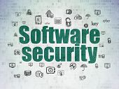 Security Concept: Painted Green Text Software Security On Digital Data Paper Background With  Hand D poster