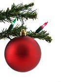 foto of christmas ornament  - Red christmas ornament hanging from a christmas tree isolated on white - JPG