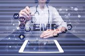 Electronic Health Record. Ehr, Emr. Medicine And Healthcare Concept. Medical Doctor Working With Mod poster