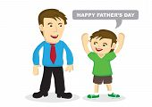 Vector Cartoon Illustration Of A Child Greeting His Father. poster
