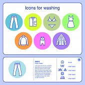 Web Icons For Washing. Jeans, Baby Clothes, Underwear, Wool, Delicate Washing, Outerwear Icons. Symb poster