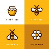 Four Linear Honey Logo With Bee Symbol, Jar Icon And Honeycomb In A Shape Of Flower. poster
