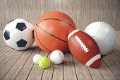 Постер, плакат: 3d Rendering Sport Balls On Wooden Backgorund Set Of Sport Balls Sport Equipment Such Us Football
