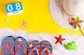 May 8th. Image Of May 8 Calendar With Summer Beach Accessories. Spring Like Summer Vacation Concept. poster