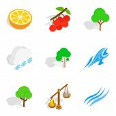 Ecological City Icons Set. Isometric Set Of 9 Ecological City Vector Icons For Web Isolated On White poster
