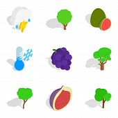 Ecological Place Icons Set. Isometric Set Of 9 Ecological Place Vector Icons For Web Isolated On Whi poster