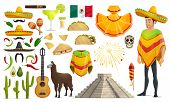 Cinco De Mayo Mexican Celebration Culture Icons. Vector Isolated Set Of Mexico Flag, Man In Sombrero poster