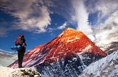 Evening Colored View Of Mount Everest From Gokyo Valley With Tourist On The Way To Everest Base Camp poster