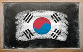Flag Of South Korea On Blackboard Painted With Chalk