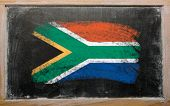Flag Of South Africa On Blackboard Painted With Chalk