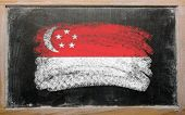 Flag Of Singapore On Blackboard Painted With Chalk