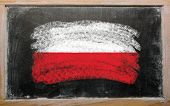 Flag Of Poland On Blackboard Painted With Chalk