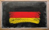 Flag Of Germany On Blackboard Painted With Chalk
