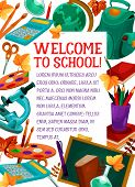Welcome To School Poster Of Education Stationery And Chalkboard. Vector School Bag, Geography Globe  poster