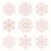 Set Of Vector Snowflakes. Pink Winter Ornaments. Snowflakes Collection. Snowflakes For Backgrounds A poster