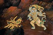 image of annal  - war of ramayana on a wall in the Thai tample - JPG