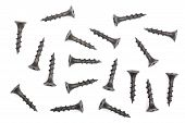 Black Screws Isolated On White Background Closeup. Top View poster