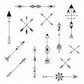Set Of Decorative Arrows. Design Elements. Fashion Decorative Ornament. Hipster Vector Design Set. poster