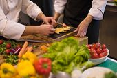 Professional team cooks and chefs preparing meal at busy hotel or restaurant  kitchen poster